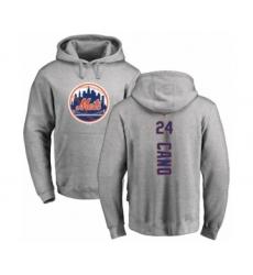 Baseball New York Mets #24 Robinson Cano Ash Backer Pullover Hoodie