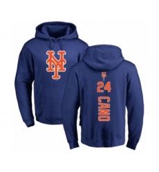 Baseball New York Mets #24 Robinson Cano Royal Blue Backer Pullover Hoodie