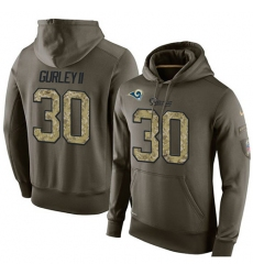 NFL Nike Los Angeles Rams #30 Todd Gurley Green Salute To Service Men's Pullover Hoodie