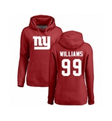 Football Women's New York Giants #99 Leonard Williams Red Name & Number Logo Pullover Hoodie