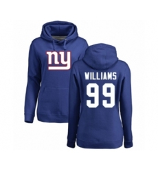 Football Women's New York Giants #99 Leonard Williams Royal Blue Name & Number Logo Pullover Hoodie
