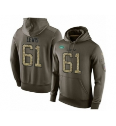 Football Men's New York Jets #61 Alex Lewis Green Salute To Service Pullover Hoodie
