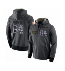 Football Men's New York Jets #84 Ryan Griffin Stitched Black Anthracite Salute to Service Player Performance Hoodie