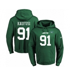 Football Men's New York Jets #91 Bronson Kaufusi Green Name & Number Pullover Hoodie