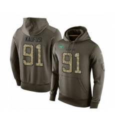 Football Men's New York Jets #91 Bronson Kaufusi Green Salute To Service Pullover Hoodie