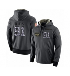 Football Men's New York Jets #91 Bronson Kaufusi Stitched Black Anthracite Salute to Service Player Performance Hoodie