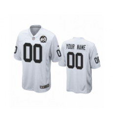 Youth Oakland Raiders Customized White 60th Anniversary Game Jersey