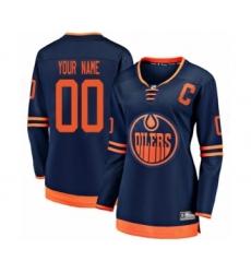 Women's Edmonton Oilers Customized Authentic Navy Blue Alternate Fanatics Branded Breakaway Hockey Jersey