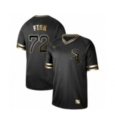 Men's Chicago White Sox #72 Carlton Fisk Authentic Black Gold Fashion Baseball Jersey