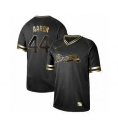 Men's Atlanta Braves #44 Hank Aaron Authentic Black Gold Fashion Baseball Jersey