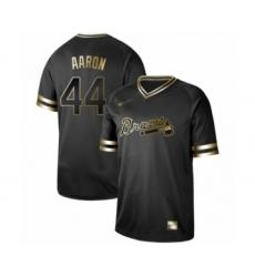 Men's Atlanta Braves #44 Hank Aaron Authentic Black Gold Fashion Baseball Jersey
