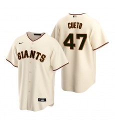 Men's Nike San Francisco Giants #47 Johnny Cueto Cream Home Stitched Baseball Jersey
