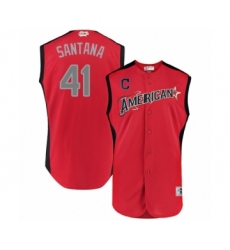 Men's Cleveland Indians #41 Carlos Santana Authentic Red American League 2019 Baseball All-Star Jersey