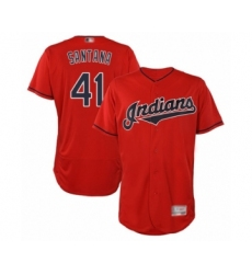 Men's Cleveland Indians #41 Carlos Santana Scarlet Alternate Flex Base Authentic Collection Baseball Jersey