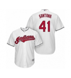 Youth Cleveland Indians #41 Carlos Santana Authentic White Home Cool Base Baseball Jersey