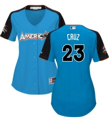 Women's Majestic Seattle Mariners #23 Nelson Cruz Replica Blue American League 2017 MLB All-Star MLB Jersey