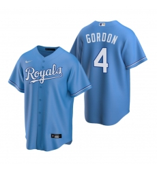 Men's Nike Kansas City Royals #4 Alex Gordon Light Blue Alternate Stitched Baseball Jersey