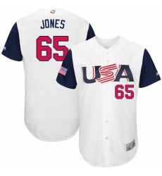 Men's USA Baseball Majestic #65 Nate Jones White 2017 World Baseball Classic Authentic Team Jersey