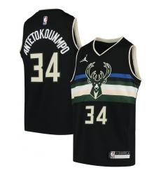 Youth Milwaukee Bucks #34 Giannis Antetokounmpo Jordan Brand Black 2020-21 Swingman Player Jersey