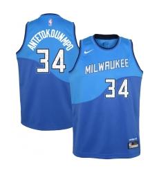 Youth Milwaukee Bucks #34 Giannis Antetokounmpo Nike Royal 2020-21 Swingman Jersey