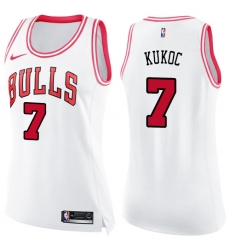 Women's Nike Chicago Bulls #7 Toni Kukoc Swingman White/Pink Fashion NBA Jersey