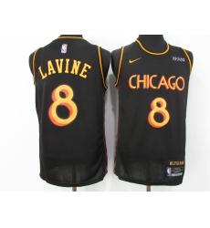 Men's Nike Chicago Bulls #8 Zach LaVine Black Swingman Jersey