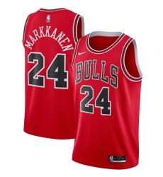Men's Chicago Bulls #24 Lauri Markkanen Nike Red 2020-21 Swingman Jersey
