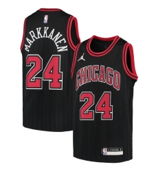 Youth Chicago Bulls #24 Lauri Markkanen Jordan Brand Black 2020-21 Swingman Player Jersey