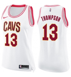 Women's Nike Cleveland Cavaliers #13 Tristan Thompson Swingman White/Pink Fashion NBA Jersey