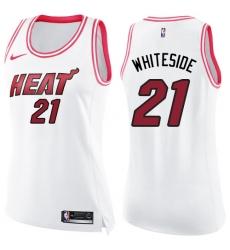 Women's Nike Miami Heat #21 Hassan Whiteside Swingman White/Pink Fashion NBA Jersey