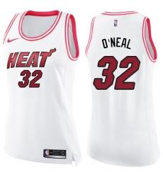 Women's Nike Miami Heat #32 Shaquille O'Neal Swingman White/Pink Fashion NBA Jersey