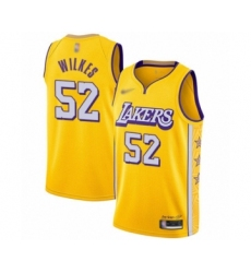 Men's Los Angeles Lakers #52 Jamaal Wilkes Swingman Gold 2019-20 City Edition Basketball Jersey