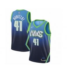 Men's Dallas Mavericks #41 Dirk Nowitzki Swingman Blue Basketball Jersey - 2019 20 City Edition
