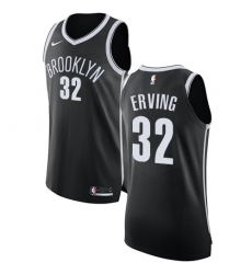 Men's Nike Brooklyn Nets #32 Julius Erving Authentic Black Road NBA Jersey - Icon Edition