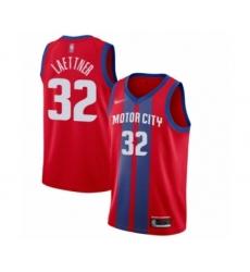 Men's Detroit Pistons #32 Christian Laettner Swingman Red Basketball Jersey - 2019 20 City Edition