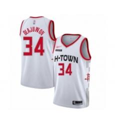 Men's Houston Rockets #34 Hakeem Olajuwon Swingman White Basketball Jersey - 2019 20 City Edition