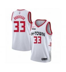 Men's Houston Rockets #33 Ryan Anderson Swingman White Basketball Jersey - 2019 20 City Edition