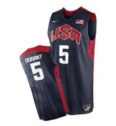 Men's Nike Team USA #5 Kevin Durant Swingman Navy Blue 2012 Olympics Basketball Jersey
