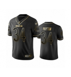 Men's Chicago Bears #34 Walter Payton Limited Black Golden Edition Football Jersey