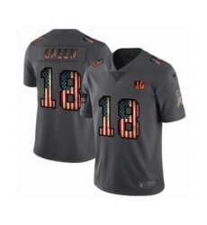 Men's Cincinnati Bengals #18 A.J. Green Limited Black USA Flag 2019 Salute To Service Football Jersey