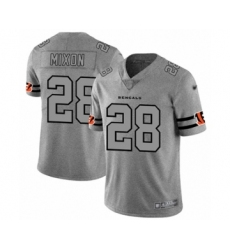 Men's Cincinnati Bengals #28 Joe Mixon Limited Gray Team Logo Gridiron Football Jersey