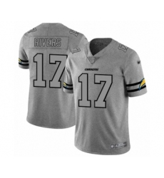 Men's Los Angeles Chargers #17 Philip Rivers Limited Gray Team Logo Gridiron Football Jersey