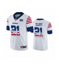 Men's Dallas Cowboys #21 Ezekiel Elliott White Independence Day Limited Football Jersey