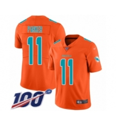 Youth Miami Dolphins #11 DeVante Parker Limited Orange Inverted Legend 100th Season Football Jersey