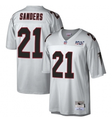 Men's Atlanta Falcons #21 Deion Sanders Mitchell & Ness Platinum NFL 100 Retired Player Legacy Jersey