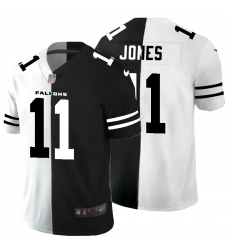 Men's Atlanta Falcons #11 Julio Jones Black White Limited Split Fashion Football Jersey