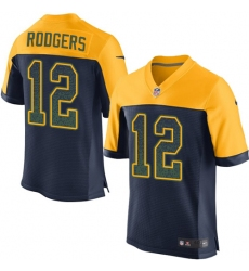 Men's Nike Green Bay Packers #12 Aaron Rodgers Elite Navy Blue Alternate Drift Fashion NFL Jersey