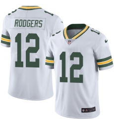 Men's Nike Green Bay Packers #12 Aaron Rodgers White Vapor Untouchable Limited Player NFL Jersey