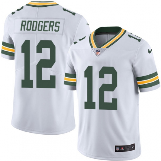 f9ea5802d77 Men's Nike Green Bay Packers #12 Aaron Rodgers White Vapor Untouchable  Limited Player NFL Jersey