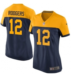 Women's Nike Green Bay Packers #12 Aaron Rodgers Elite Navy Blue Alternate NFL Jersey